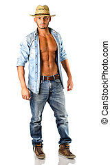 Handsome young man in jeans with straw hat - Handsome young..