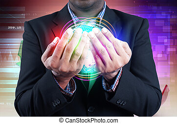 Businessman holds globe in a hands