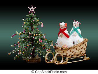 Handmade soft toy two snowmans on a sled and New Year tree -...