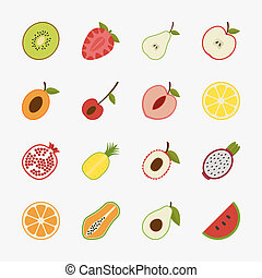 Fruit icons with white background