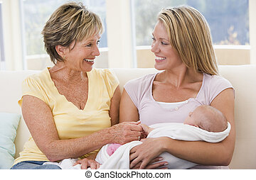 Grandmother and mother in living room with baby smiling