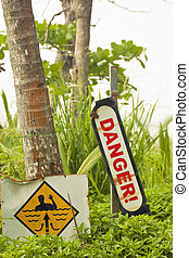 Danger and current warning - Signs for danger in the water...