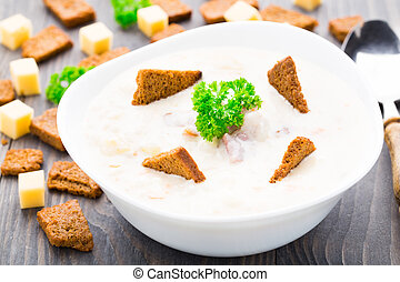 Cheese soup with toasts - Delicious cheese soup with toasts...