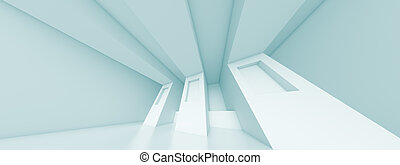 Panoramic Interior Background - 3d Abstract Panoramic...