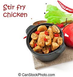 sauteed, cogumelos, galinha