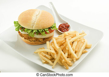 crisp chicken burger with tomato onion cheese lettuce...