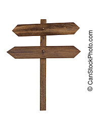 wooden sign isolated on a white background.