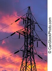 Power Transmission Tower - Power Transmission tower against...