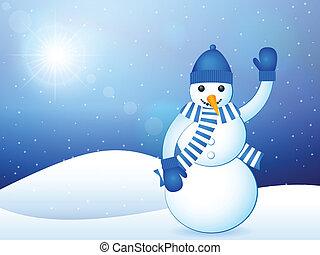 winter landscape snowman