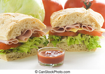 delicious sandwich of ham cheese lettuce tomato - delicious...