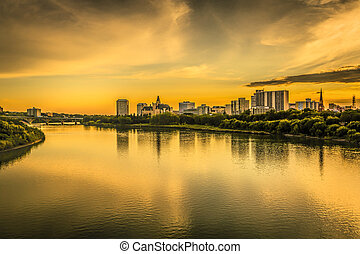 Saskatoon Skyline - The skyline of Saskatoon, Canada at...