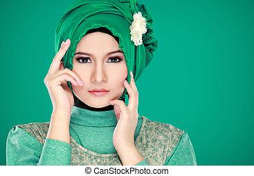 mode, portrait, jeune, beau, musulman, femme, vert, cout