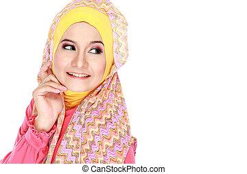 beau, rose, mode, espace, Porter, musulman, jeune, regarder,...
