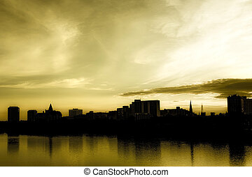 Saskatoon Skyline - The dark and moody city skyline of...