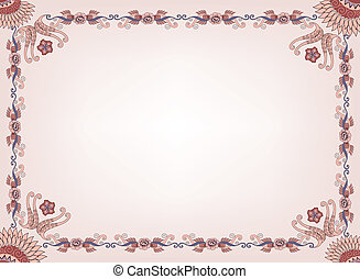 beige frame with a floral border and abstract pattern