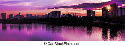 Saskatoon Skyline - The city skyline of Saskatoon, Canada at...