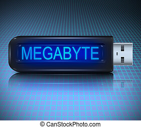 Megabyte concept - Illustration depicting a usb flash drive...