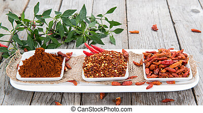 Chilli Spice - Fresh Chilli Spice on wooden background