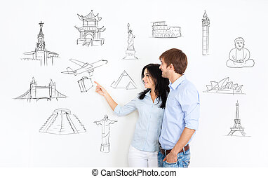 couple travel concept, dream vacation draw wall