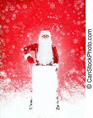 Santa Clause in new year costume over red christmas...