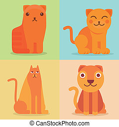 Vector set of flat cat icons and illustrations - funny...