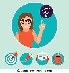 Vector woman character with sign and symbols - internet...