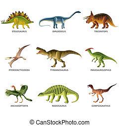 dinosaurios, aislado, blanco, vector, Conjunto