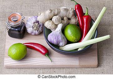 Thai ingredients - Fresh ingredients used to flavor Thai...
