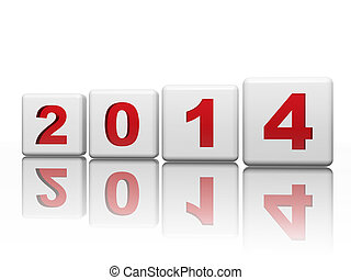 new year 2014 in white cubes with red figures