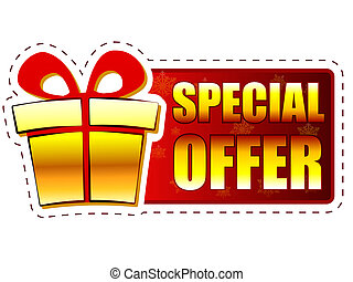 special offer - text and gift box sign on red christmas banner with snowflakes, business holiday concept
