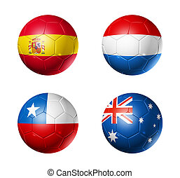 Brazil world cup 2014 group B flags on soccer balls - 3D...
