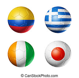 Brazil world cup 2014 group C flags on soccer balls - 3D...