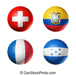 Brazil world cup 2014 group E flags on soccer balls - 3D...