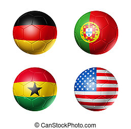 Brazil world cup 2014 group G flags on soccer balls - 3D...