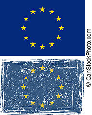 European Union grunge flag. Vector