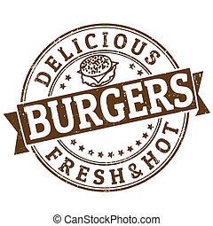 Burgers stamp - Grunge rubber stamp with the word Burgers...