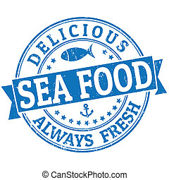 Sea food stamp - Grunge rubber stamp with the word Sea food...