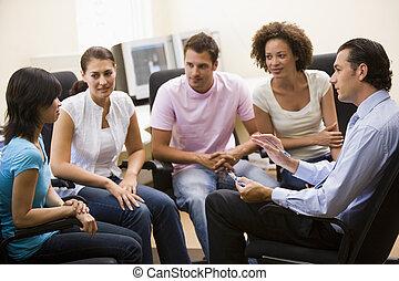 hombre, Dar, conferencia, cuatro, gente, computadora,...