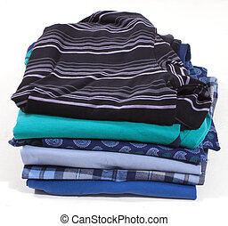 A family laundry pile on white background