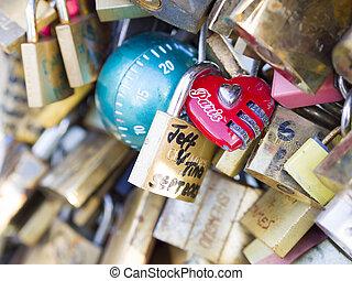 PARIS - December 6: Love Padlocks at Pont de l'Archevêché on...