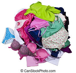 Lots of messy colorful clothes isolated on white background. Clipping paths included.