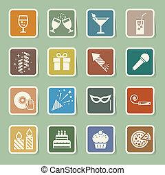 Party and Celebration icon set Illustration eps10