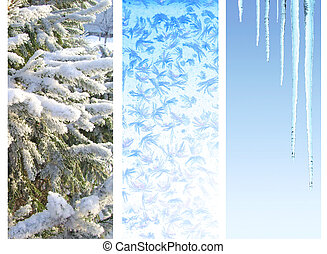Set of winter banners - Collection of vertical winter...