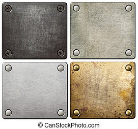 Metal plates with screws and rivets