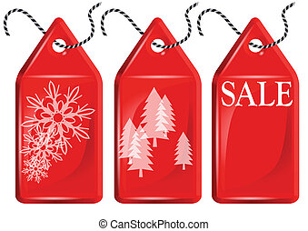 Christmas shopping. Red price tags isolated on white