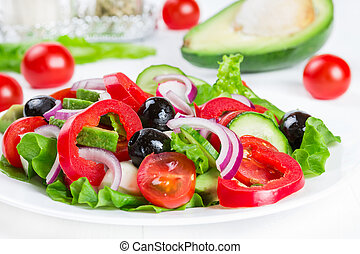 Salad with vegetables and olives