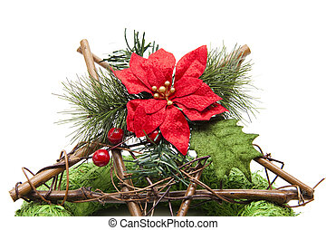 Christmas flower with Christmas star on white background