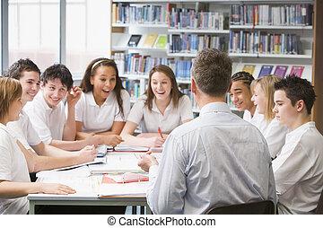 estudantes, professor, estudo, Grupo, colaborar