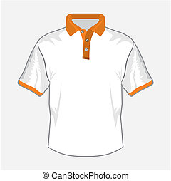 White polo shirt design with orange collar