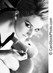 Punk girl - Black and white hoto of punk girl in the...